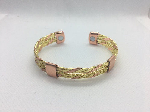 SOLID COPPER TWO TONE MAGNETIC THERAPY BANGLE