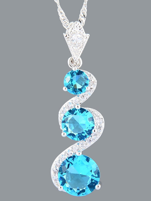 18K Blue and White Crystal Pendant and chain
