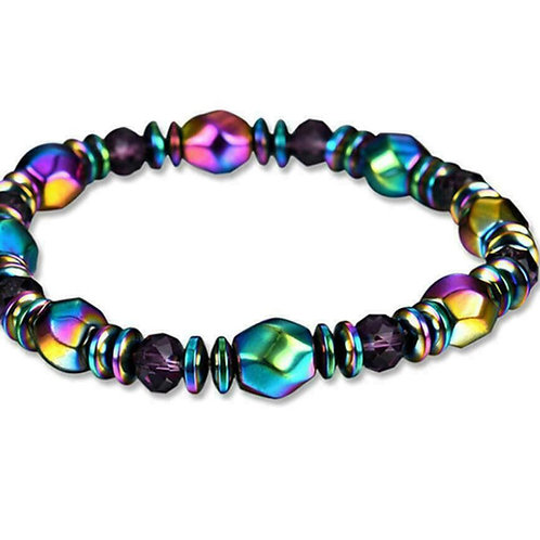 Naturally Magnetic Rainbow Hematite/Crystal Bracelet