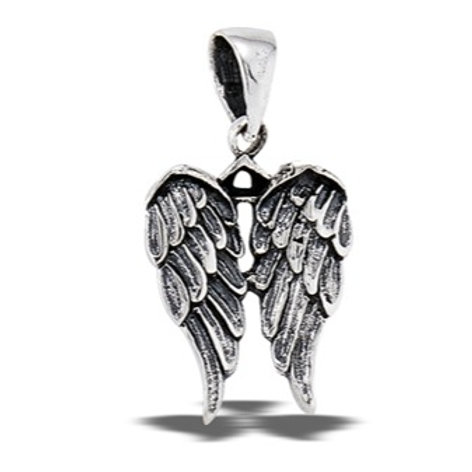 Sterling Silver Angel Wings Pendant on a 1mm Sterling Silver Chain