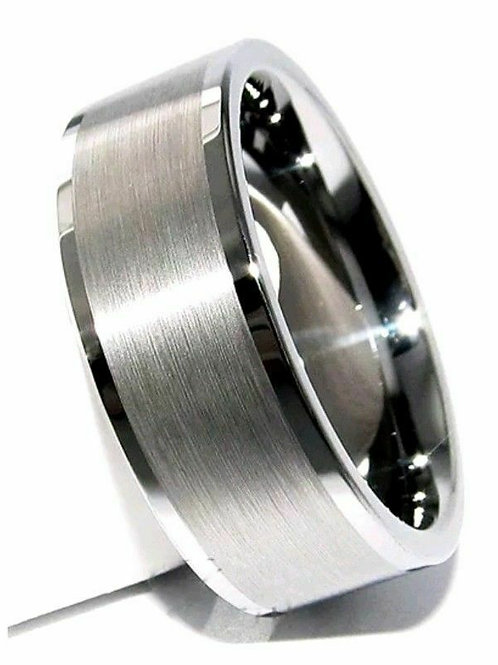Brushed Chrome Tungsten Carbide Ring 8mm Wide
