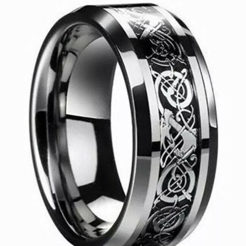 Black Celtic Tungsten Carbide Ring 8mm Wide