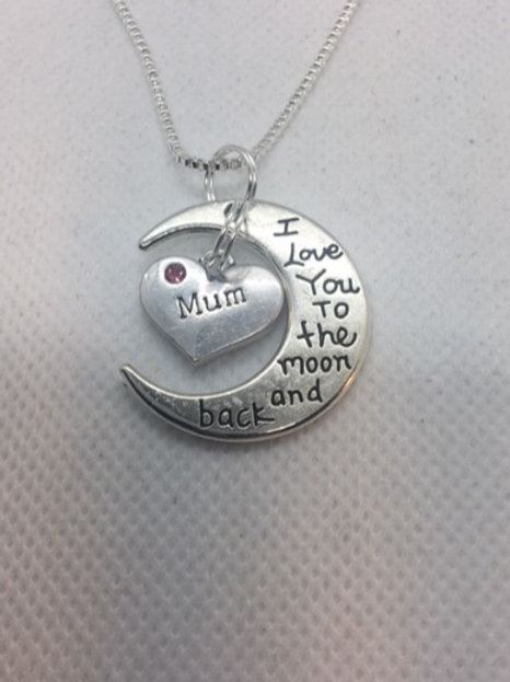 "'I love you to the Moon and Back' Pendant on a 17"" Chain"