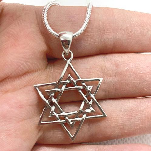 Large Sterling Silver Pentagram Pendant on 1mm Chain