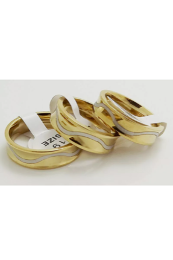 Stainless Steel Gold/Silver Wave Rings 6mm Wide