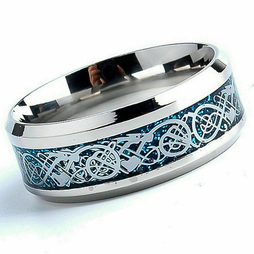 Blue Celtic Tungsten Carbide Ring 8mm Wide Size X + 1/2 ONLY
