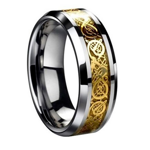 Gold Celtic Tungsten Carbide Ring 8mm Wide