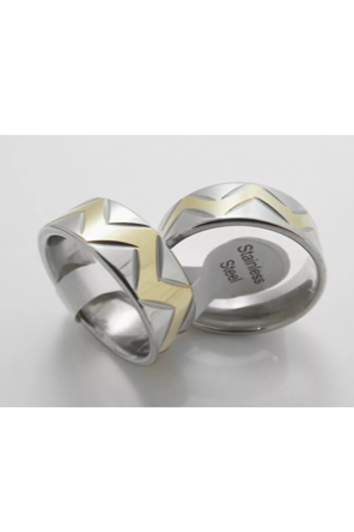 Stainless Steel Gold/Silver ZigZag Ring 8mm Wide