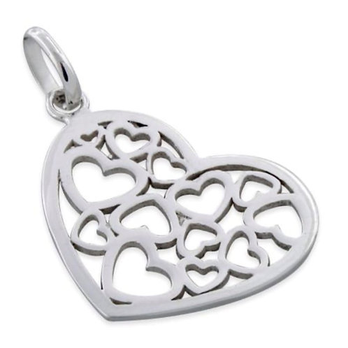 925 Sterling Silver Multiple Heart Pendant on a 1mm Silver Chain
