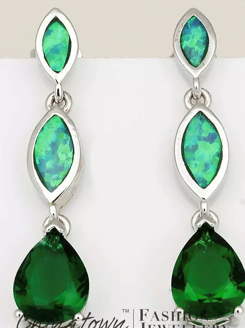 Sterling Silver Fire Opal and Emerald Coloured Crystal Earrings