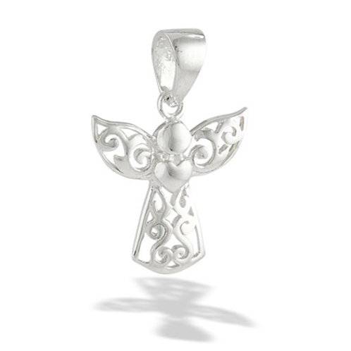 Sterling Silver Angel with Heart Pendant and 1mm chain