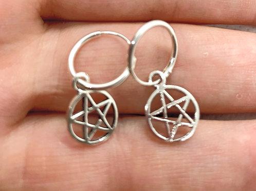 Sterling Silver Pentagram Hoop Drop Earrings