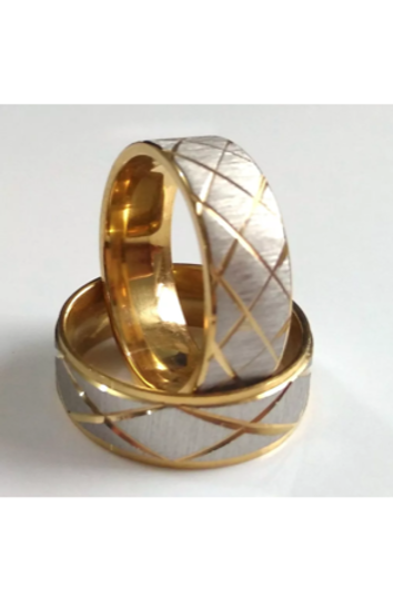 Stainless Steel Brushed Chrome& Gold Ring 8mm wide