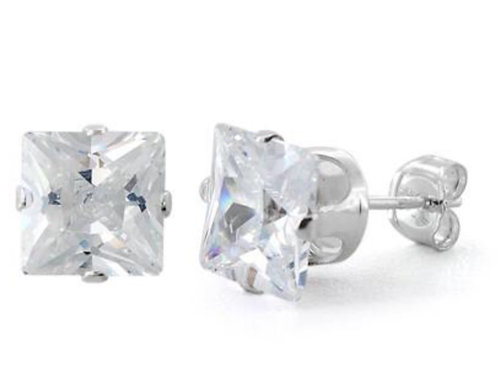 7mm Cubic Zirconia Sterlig Silver Stud Earrings and Backs