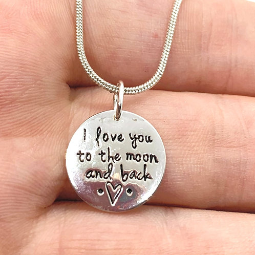 Sterling Silver I Love You to the Moon and Back on 1mm Silver Chain
