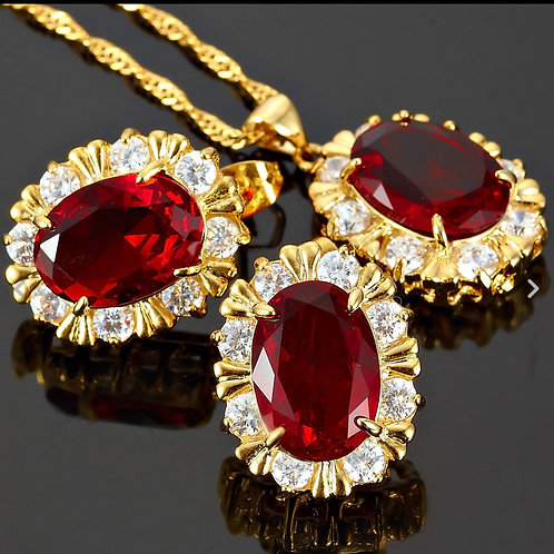 18K Gold Red and White Pendant/Earring Set