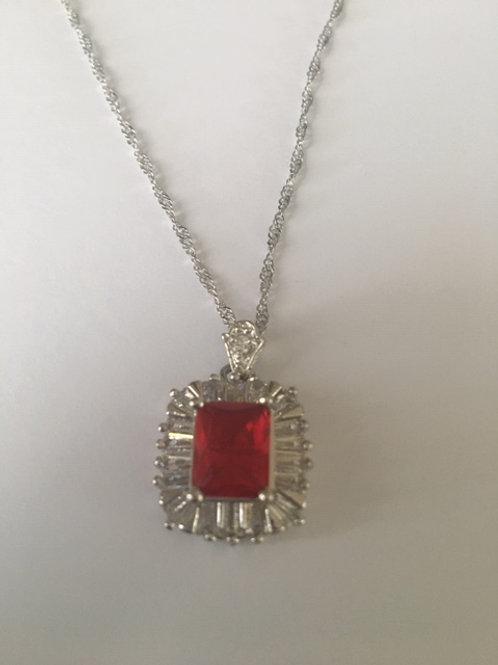 White Gold Filled Red Quartz Pendant on 17'' White Gold Filled Chain
