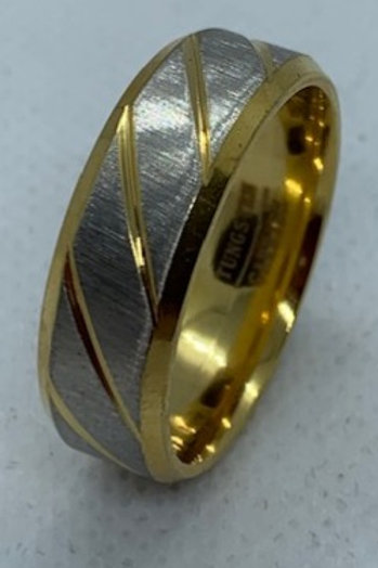 Tungsten Carbide Gold and Brushed Chrome Grooved 8mm Ring