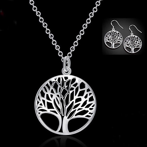 Sterling Silver Tree of Life Necklace and Earrings Set