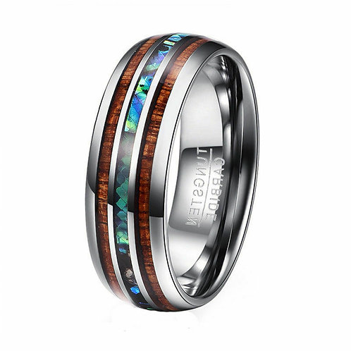 Abalone and Koa Wood Tungsten Carbide Ring 8mm