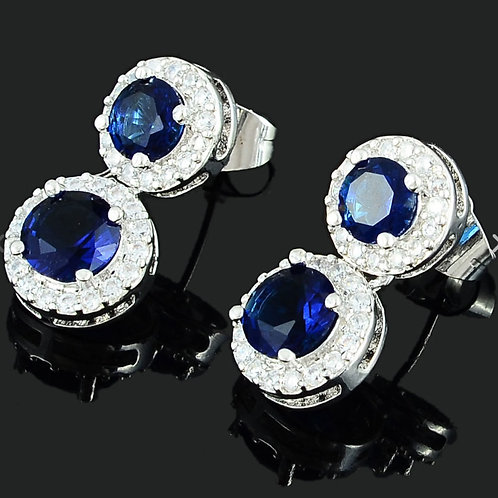 18K White Gold Filled Sapphire and White Crystal Earrings