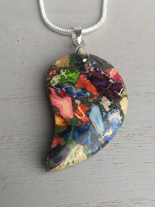 Multicoloured Sea Jasper Pendant on a 2mm Sterling Silver Chain