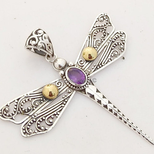 Sterling Silver Amethyst Dragonfly on a 2mm silver chain