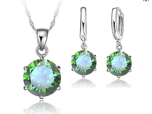Sterling Silver Green Crystal Pendant/Drop Earrings Set