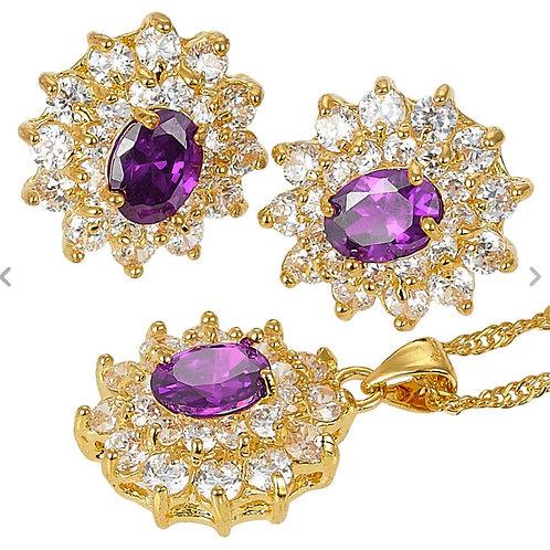 18K Gold Amethyst and White Pendant/Earring Set