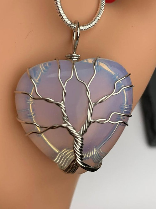 Opalite Tree of Life Pendant on a 2mm Sterling Silver Chain