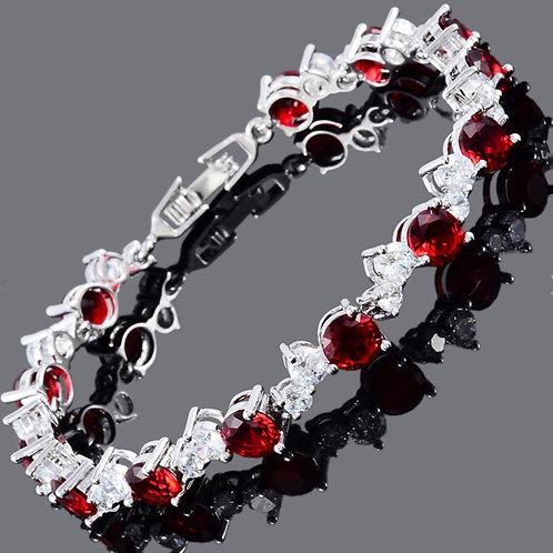18K White Gold Filled Ruby Red/White Crystal Butterfly Bracelet