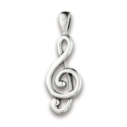 Sterling Silver Musical Clef Note Pendant on a 1mm chain