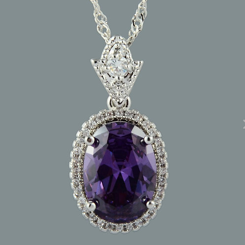 18K White Gold Filled Amethyst/White Crystal Pendant and Chain