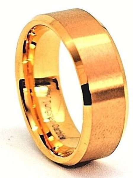 Brushed Gold Tungsten Carbide Ring 8mm Wide