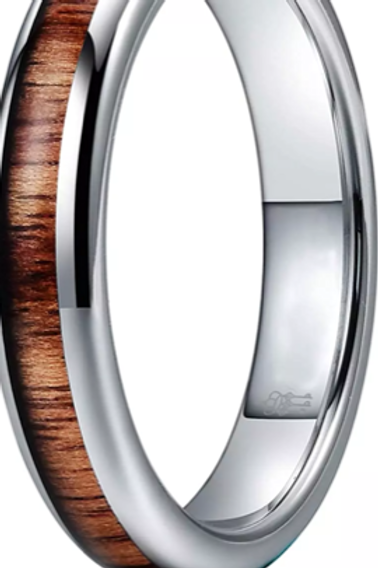 Koa Wood Tungsten Carbide Ring 8mm Size Z +1 ONLY