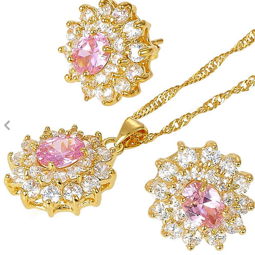 18K Gold Pink and White Pendant/Earring Set