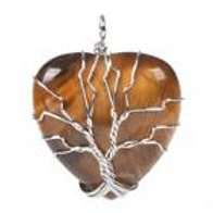 Tiger's Eye Tree of Life Pendant on a 2mm Sterling Silver Chain