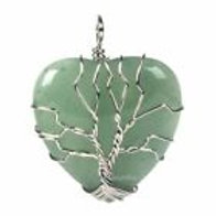 Green Adventurine Tree of Life Pendant on a 2mm Sterling Silver Chain
