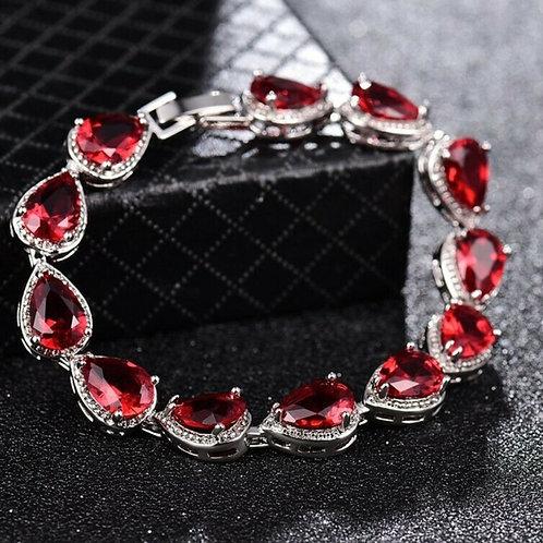"7"" White Gold Filled Red Quartz Crystal Bracelet"