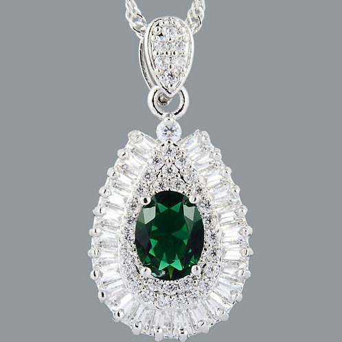 18K White Gold Filled Emerald Green/White Crystal Pendant and Chain