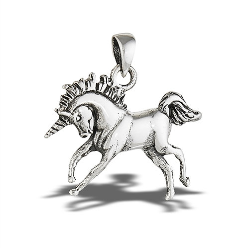 Sterling Silver Unicorn Pendant on a 1mm chain