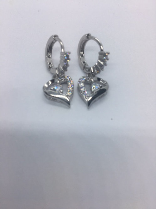 White Gold Filled Crytal Heart Earrings