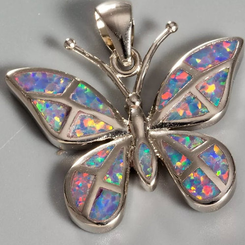 Sterling Silver Fire Opal Butterfly Pendant on a 2mm Sterling Silver chain