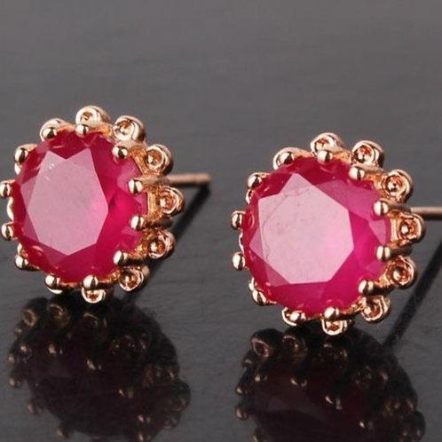 18K Gold Filled Ruby Stud Earrings