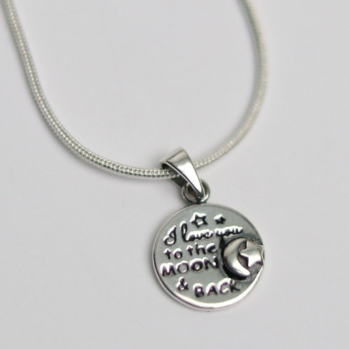 Small I Love You to the Moon and Back Sterling Silver Pendant on 1mm Snake Chain