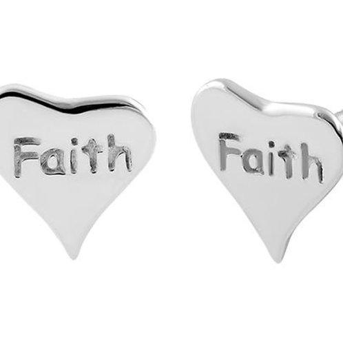 Sterling Silver Faith Heart Earrings