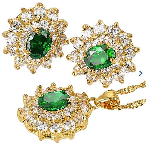 18K Gold Green and White Pendant/Earring Set