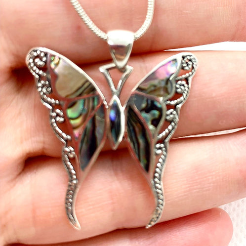 Stunning Solid Sterling Silver Abalone Shell Butterfly Pendant