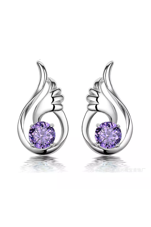Sterling Silver Purple Crystal Feather Earrings
