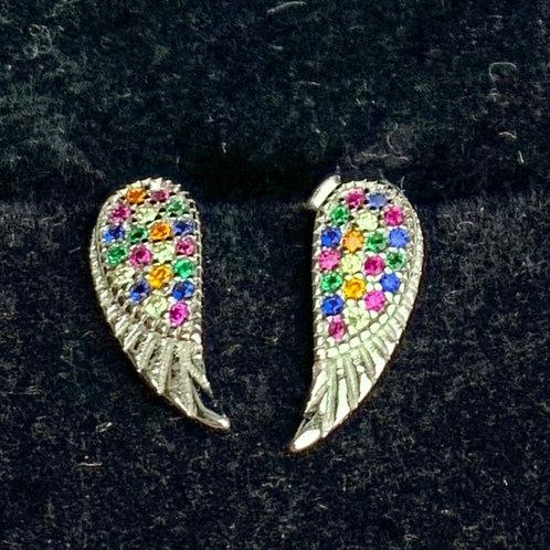 CRYSTAL SET STERLING SILVER ANGEL WING EARRINGS